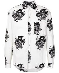 weißes und schwarzes Langarmhemd mit Blumenmuster von N°21