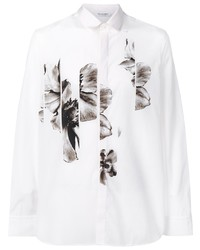 weißes und schwarzes Langarmhemd mit Blumenmuster von Neil Barrett