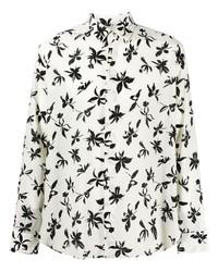 weißes und schwarzes Langarmhemd mit Blumenmuster von Saint Laurent