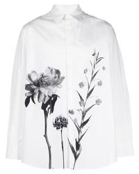 weißes und schwarzes Langarmhemd mit Blumenmuster von Valentino