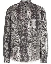 weißes und schwarzes Langarmhemd mit Leopardenmuster von Amiri