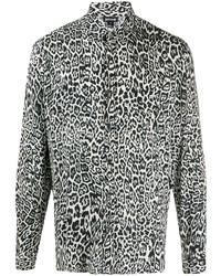 weißes und schwarzes Langarmhemd mit Leopardenmuster von Just Cavalli