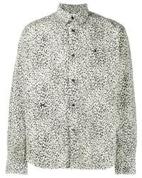 weißes und schwarzes Langarmhemd mit Leopardenmuster von Kenzo