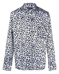 weißes und schwarzes Langarmhemd mit Leopardenmuster von Noon Goons
