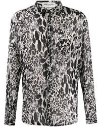 weißes und schwarzes Langarmhemd mit Leopardenmuster von Saint Laurent