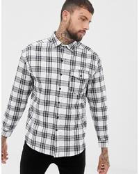 weißes und schwarzes Langarmhemd mit Schottenmuster von Good For Nothing