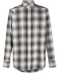 weißes und schwarzes Langarmhemd mit Schottenmuster von Tagliatore