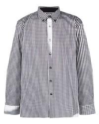weißes und schwarzes Langarmhemd mit Vichy-Muster von Ader Error