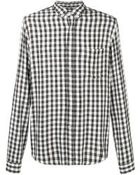 weißes und schwarzes Langarmhemd mit Vichy-Muster von Ami Paris