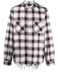 weißes und schwarzes Langarmhemd mit Vichy-Muster von Amiri