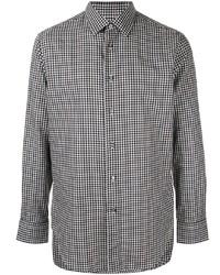 weißes und schwarzes Langarmhemd mit Vichy-Muster von Brioni