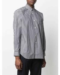 weißes und schwarzes Langarmhemd mit Vichy-Muster von Comme Des Garcons SHIRT