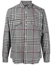 weißes und schwarzes Langarmhemd mit Vichy-Muster von Costumein