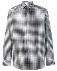 weißes und schwarzes Langarmhemd mit Vichy-Muster von Etro