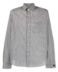 weißes und schwarzes Langarmhemd mit Vichy-Muster von Kenzo