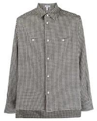 weißes und schwarzes Langarmhemd mit Vichy-Muster von Loewe