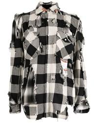 weißes und schwarzes Langarmhemd mit Vichy-Muster von Maison Mihara Yasuhiro