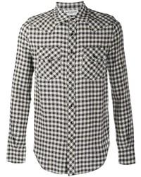 weißes und schwarzes Langarmhemd mit Vichy-Muster von Saint Laurent
