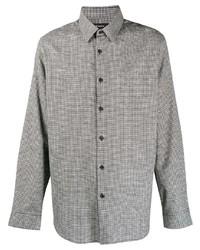 weißes und schwarzes Langarmhemd mit Vichy-Muster von Theory