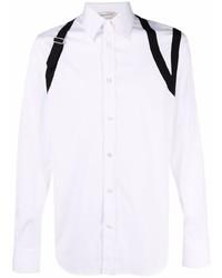 weißes und schwarzes Langarmhemd von Alexander McQueen