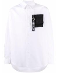 weißes und schwarzes Langarmhemd von Moschino