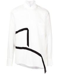 weißes und schwarzes Langarmhemd von Sulvam