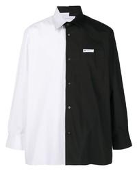 weißes und schwarzes Langarmhemd von Xander Zhou