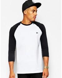 weißes und schwarzes Langarmshirt von New Era