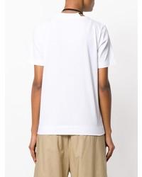 weißes und schwarzes T-Shirt mit einem Rundhalsausschnitt mit Blumenmuster
