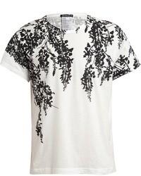 weißes und schwarzes T-Shirt mit einem Rundhalsausschnitt mit Blumenmuster von Ann Demeulemeester