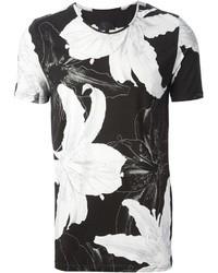 weißes und schwarzes T-Shirt mit einem Rundhalsausschnitt mit Blumenmuster von Les Hommes
