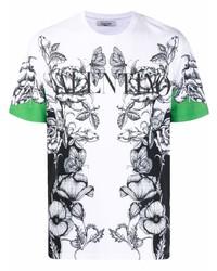 weißes und schwarzes T-Shirt mit einem Rundhalsausschnitt mit Blumenmuster von Valentino