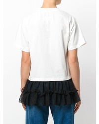 weißes und schwarzes T-Shirt mit einem Rundhalsausschnitt von MM6 MAISON MARGIELA