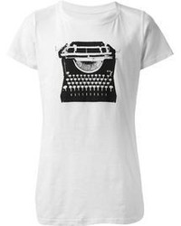 Weisses und schwarzes t shirt mit rundhalsausschnitt original 3141645