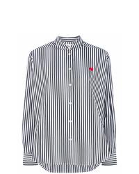 weißes und schwarzes vertikal gestreiftes Businesshemd von Chinti & Parker