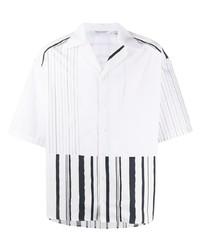 weißes und schwarzes vertikal gestreiftes Kurzarmhemd von Neil Barrett
