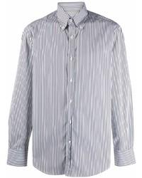 weißes und schwarzes vertikal gestreiftes Langarmhemd von Brunello Cucinelli