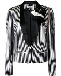 weißes und schwarzes vertikal gestreiftes Sakko von Lanvin