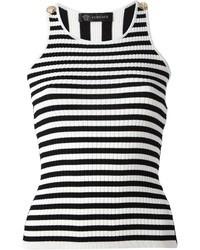 weißes und schwarzes vertikal gestreiftes Trägershirt von Versace