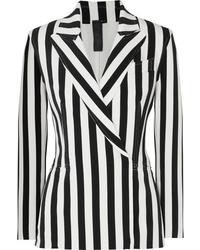 weißes und schwarzes vertikal gestreiftes Zweireiher-Sakko von Norma Kamali