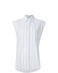 weißes vertikal gestreiftes ärmelloses Hemd
