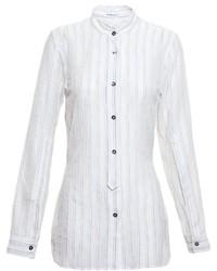 weißes vertikal gestreiftes Businesshemd von Ann Demeulemeester