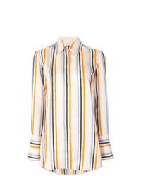 weißes vertikal gestreiftes Businesshemd von Victoria Victoria Beckham