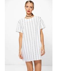weißes vertikal gestreiftes gerade geschnittenes Kleid