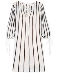 weißes vertikal gestreiftes gerade geschnittenes Kleid von See by Chloe