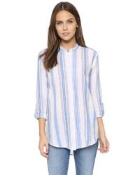 weißes vertikal gestreiftes Hemd von AG Jeans