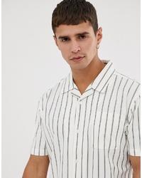 weißes vertikal gestreiftes Kurzarmhemd von Bellfield