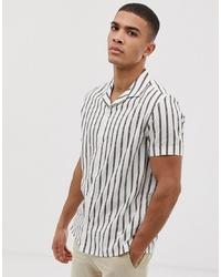 weißes vertikal gestreiftes Kurzarmhemd von Burton Menswear