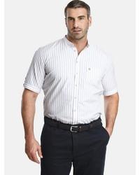 weißes vertikal gestreiftes Kurzarmhemd von Charles Colby