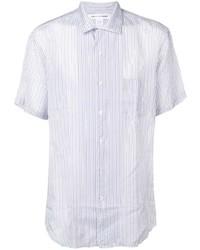 weißes vertikal gestreiftes Kurzarmhemd von Comme Des Garcons SHIRT